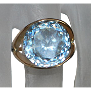 14K Large Aquamarine (8ct) Stone Ring - 1970's
