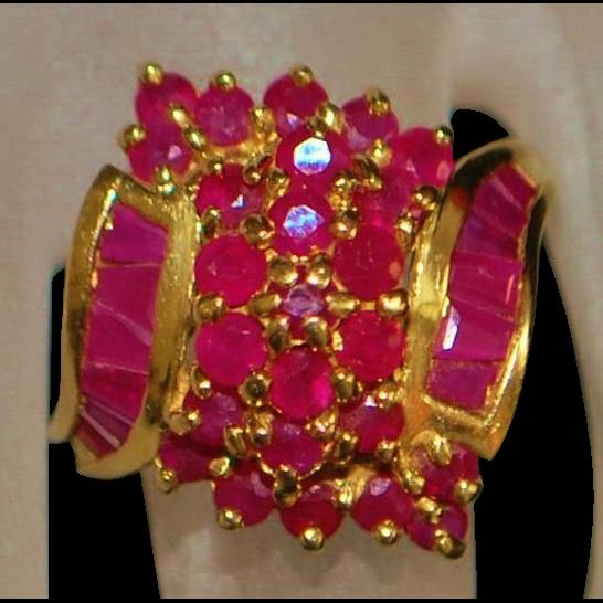 14K Ruby Cluster Ring - 1980's