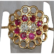 14K Modernist Ruby and Diamond Ring - 1970's