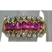 14K Ruby and Diamond Pyramid Ring - 1970's