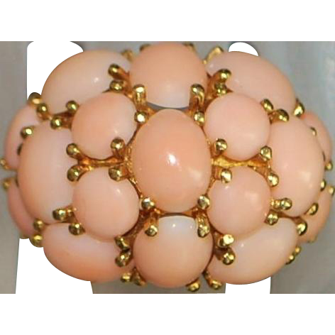 14K Large Angel Skin Coral Dome Ring - 1960's