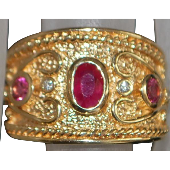 14K Etruscan Ruby, Pink Sapphire and Diamond Ring - 1980's