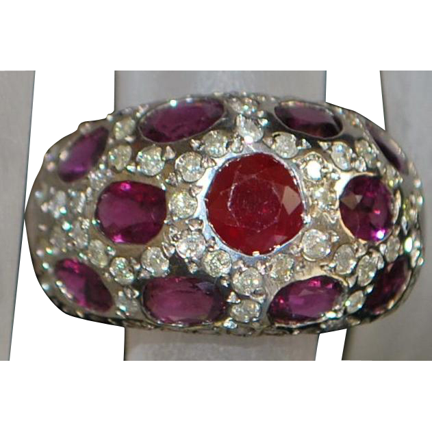 14K w/g Ruby and Diamond Pave Dome Ring - 1970