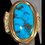 14K Large Custom Man's Morenci Turquoise and Diamond Ring