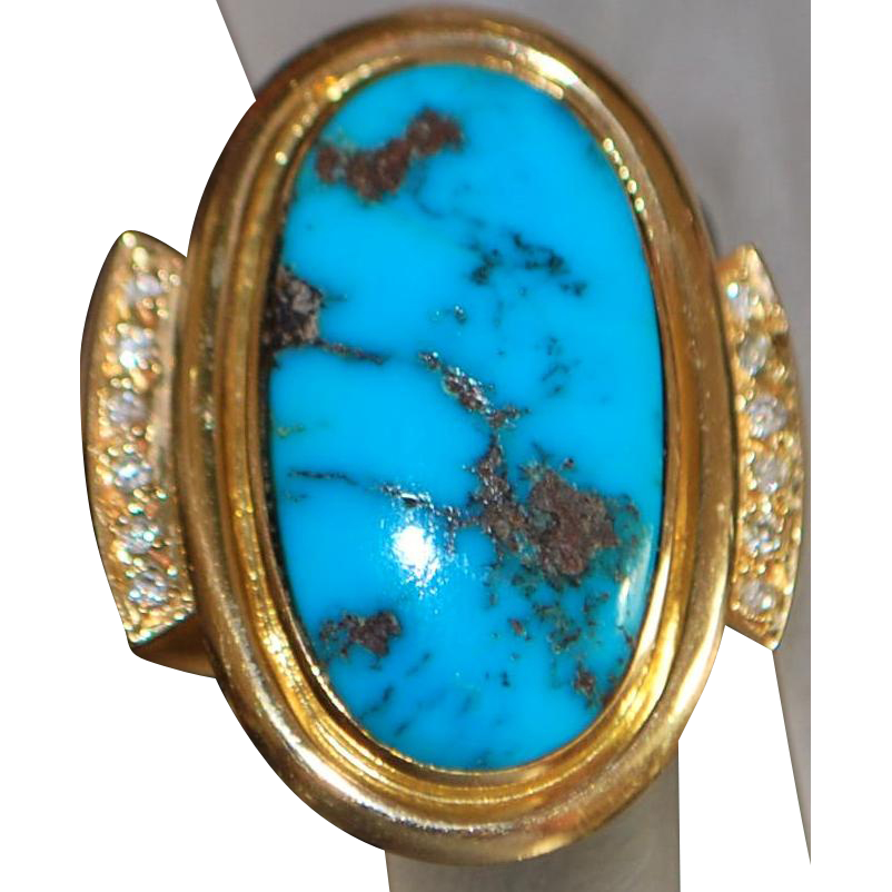 14K Large Custom Man's Morenci Turquoise and Diamond Ring