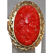 14k Carved Red Coral Ring - 1940's