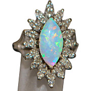 14K w/g Marquise Opal and Diamond Ring - 1950's