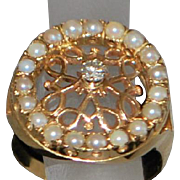 14K Custom Diamond and Seed Pearl Ring - 1980