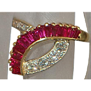 14K Custom Ruby and Diamond Ring - 1980's