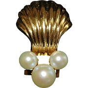 Pair of 14K Gold Shell and Pearl Clip Earrings - 1980's