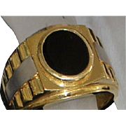 14K Large Two Tone Man's Onyx Signet Ring - 1980's