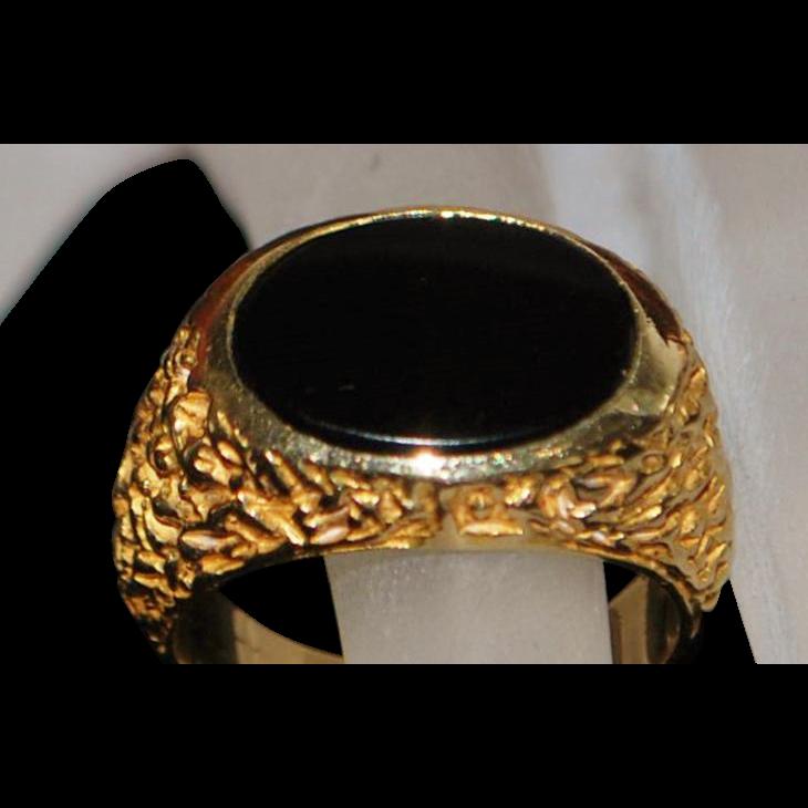 14K Classic Man's Black Onyx Signet Ring - 1970's