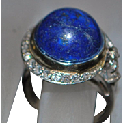 14K w/g Art Deco Lapis Lazuli and Diamond Ring - 1930's