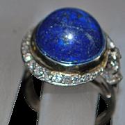 14K w/g Art Deco Lapis Lazuli and Diamond Ring - 1930's