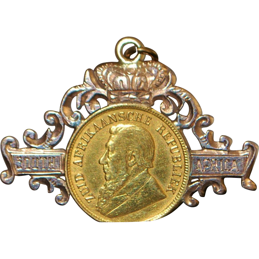 18K r/g South Africa 1/2 Pond Gold Coin Pendant - 1896