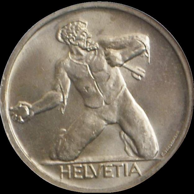 Swiss Silver 5 Franc St. Jakob Coin - 1944 B  - MS-65