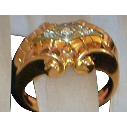 18K r/g Retro Gold and Diamond ring - Argentina - 1940's