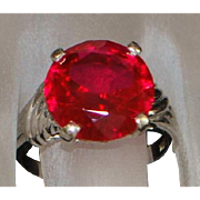 14k w/g Large Ruby Solitaire Ring