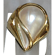 14k Large Mabe Pearl Ring - 1980's
