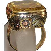 14K Large Victorian Tri-Color Gold and Citrine Signet Ring - 1885