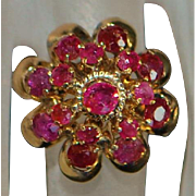 18K Princess Ruby Dome Ring - 1960's