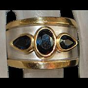 14k Heavy Two Tone Sapphire Ring - LeVian