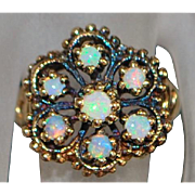 14k Rose Gold Niello Opal Ring - 1960's