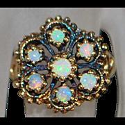 14k Rose Gold Niello Opal Ring - 1960's