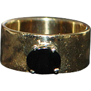 14K Large Gold and Onyx Cigar Band Ring - 1960's