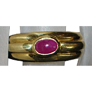 18K Italian Ruby Ring - 1980's