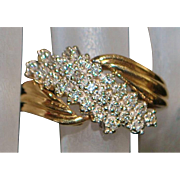 14K Pave Diamond Gold Fashion Ring - 1970's