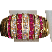 Fine 14K Man's Ruby and Diamond Ring - 1980's