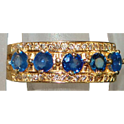 14K Sapphire and Diamond Half Hoop Ring - 1980's