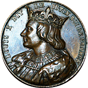 French Bronze Medal of King Louis X - 1870
