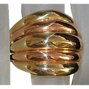 14k Two Tone Italian Stacking Dome Ring - 1980