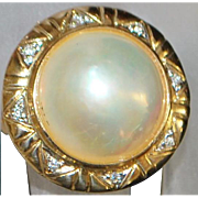 14k Mabe Pearl and Diamond Fashion Ring - 1980's
