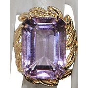 14k Large 15ct Amethyst Ring - 1980's