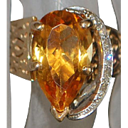 14K Custom Madera Citrine  and Diamond Ring -1960's