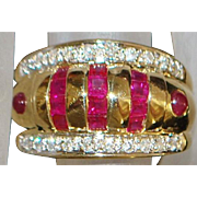 14K Fine Ruby and Diamond Dome Ring - 1980's