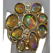 14k Custom Opal Cluster and Diamond Ring