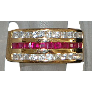 14K Fine Ruby and Diamond Band Ring