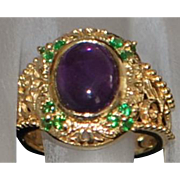 14K Etruscan Amethyst  and Green Garnet Ring