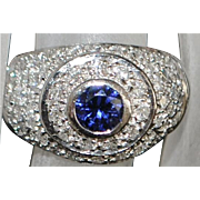 Platinum Art Deco Sapphire and Pave Diamond Ring