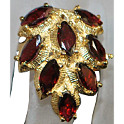 14K Large 4ct Red Garnet Fashion Ring - 1980's