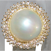 14K Large Mabe Pearl and Diamond Ring - St. John