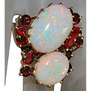 14K Large Opal and Garnet Custom made Ring - 1960's