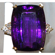 14K Fine Large Amethyst and Diamond Cocktail Ring - 1980's