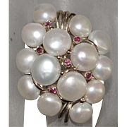 14k Large Fresh Water Pearl and Ruby Ring