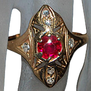 14K r/g Art Deco Ruby and Diamond Ring - 1930's