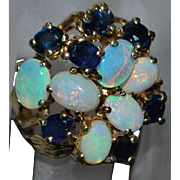 14K Large Custom Opal and Sapphire Ring - 1970's